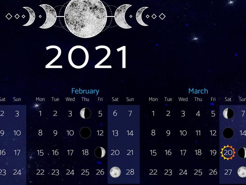 Moon Calendar 2021 Moon phases 2021 poster | Etsy