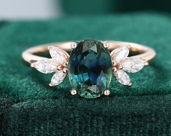 Oval Green Blue Sapphire Engagement Ring vintage Unique Marquise cut diamond Cluster ring Rose gold ring Bridal ring Anniversary gift