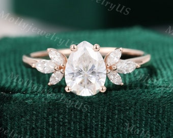 Pear shaped Moissanite engagement ring vintage Unique Marquise cut diamond Cluster engagement ring rose gold wedding Bridal gift for women