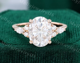 8*10mm Oval cut Moissanite engagement ring vintage ring Unique Cluster rose gold ring engagement ring Marquise diamond ring Bridal ring
