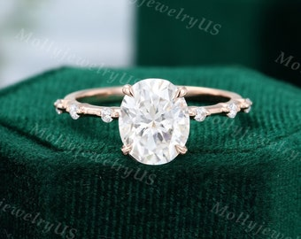 8*10mm Oval cut Moissanite engagement ring vintage ring Unique Cluster rose gold ring engagement ring diamond ring Bridal dainty ring