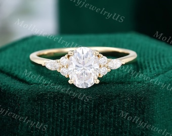 Oval cut Moissanite engagement ring vintage yellow gold Unique engagement ring woman Marquise diamond ring wedding Bridal Anniversary ring