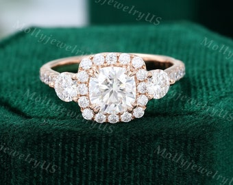 Cushion cut Moissanite engagement ring Rose gold unique vintage halo engagement ring woman Half eternity Wedding Bridal Anniversary gift