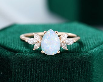 Pear shaped Opal engagement ring vintage Unique Marquise cut diamond Cluster ring Rose gold engagement ring Bridal ring Anniversary ring