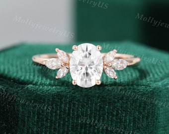 Oval Moissanite engagement ring vintage Unique Marquise cut Diamond Cluster ring Rose gold ring engagement ring Bridal ring Anniversary ring