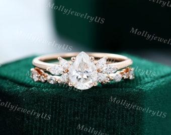 Pear shaped Moissanite engagement ring set vintage Unique Diamond Cluster engagement ring set rose gold wedding Bridal promise ring set