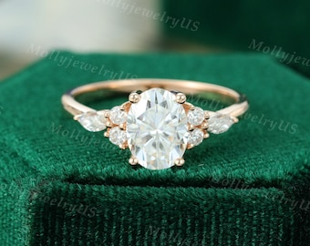 Oval Moissanite engagement ring vintage unique Cluster rose gold engagement ring women Marquise diamond wedding Bridal art deco Anniversary