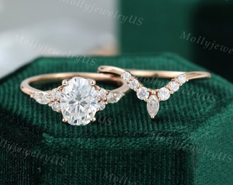 Oval Moissanite engagement ring set vintage unique rose gold engagement ring women Marquise Cluster ring diamond wedding Bridal Promise ring
