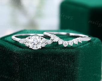 White gold engagement ring set Unique Cluster Moissanite engagement ring women Curved wedding Bridal Promise gift women art deco ring