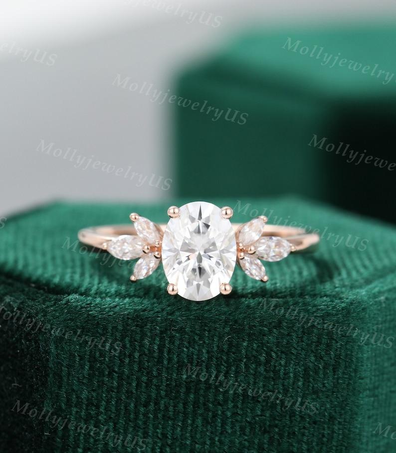 Oval Moissanite engagement ring vintage Unique Marquise cut image 1