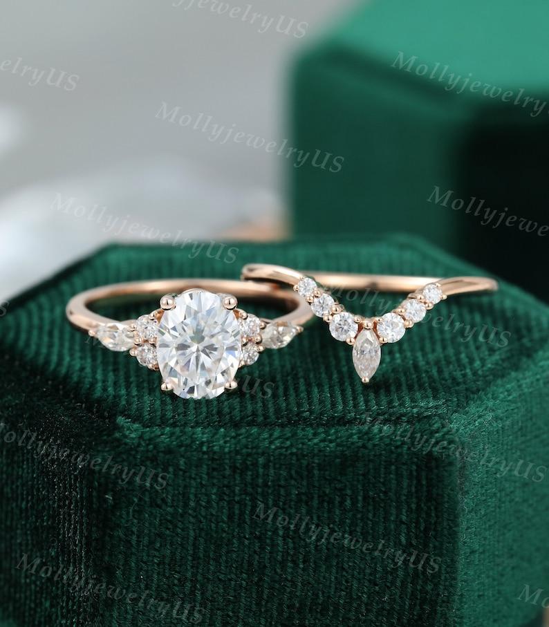 Oval Moissanite engagement ring set vintage unique rose gold image 1