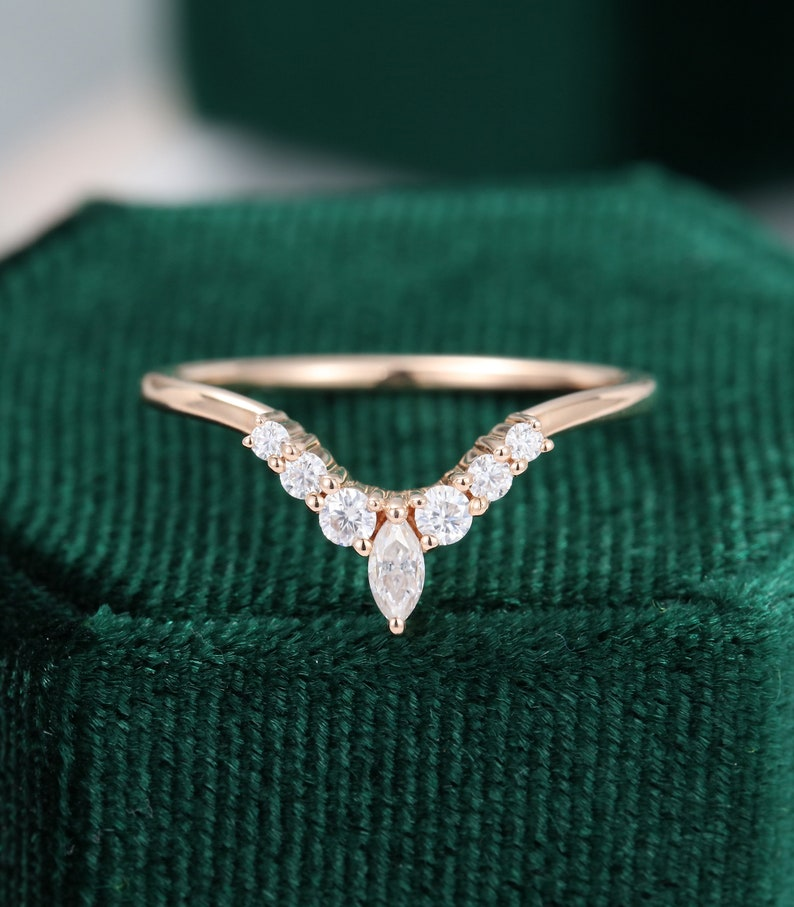 Curved wedding band vintage rose gold wedding band women Unique Marquise cut Diamond ring Bridal Stacking Matching promise gift for her