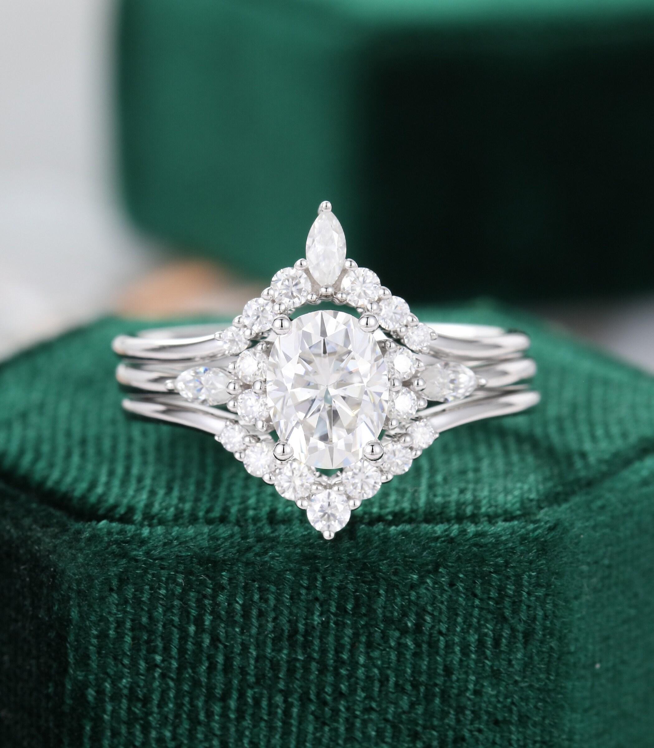 3pcs oval moissanite engagement ring set vintage unique image 0