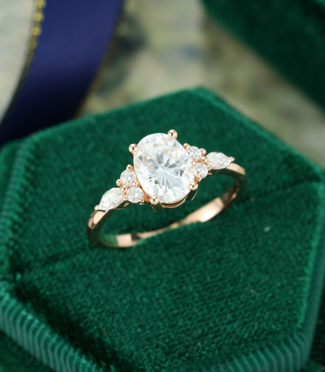 Oval Moissanite engagement ring vintage unique Cluster rose image 3