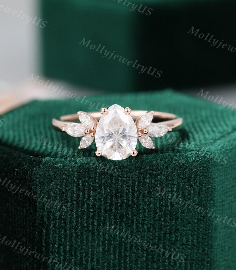 Pear shaped Moissanite engagement ring vintage Unique Marquise image 1
