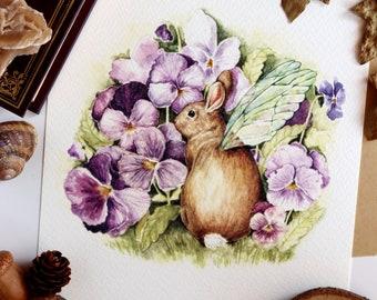 Rabbit Art, Rabbit Illustration, Bunny and Violets, Woodland Animal Print, Whimsical Art
