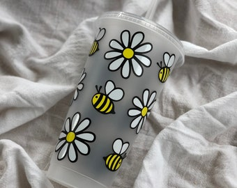 Daisy Bee Cold Reusable Cup • Personalized Cup • Venti Cold Cup • Summer Cup