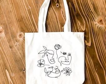 Abstract Art Faces Tote Bag • Canvas Tote Bag • Reusable Bag • Canvas Tote • Cotton bag