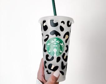 Cheetah Print Starbucks Cold Reusable Cup • Personalized Starbucks Cup • Customized Starbucks Cold Cup • Gift