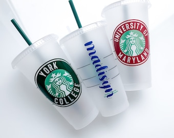 College Custom Starbucks Cold Reusable Cup • Graduation Gift • Personalized Starbucks Cup • High School Graduation Gift for Her • Senior