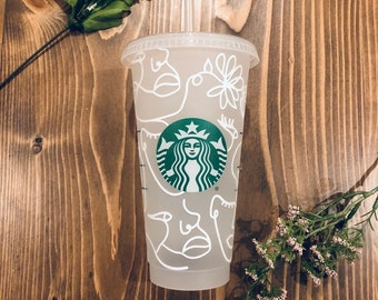 Abstract Faces Starbucks Cup • Starbucks Cold Cup • Starbucks Venti Cup •Tumbler • Abstract Art Cup