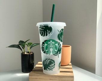 Monstera Leaf Starbucks Cup • Starbucks Cold Cup • Starbucks Venti Cup •Tumbler • Monstera Plant Cup