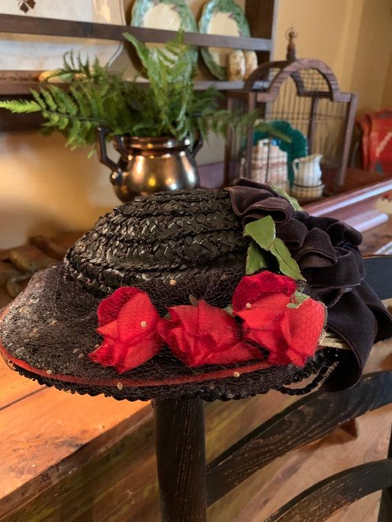 Vintage Ladies Navy Straw Hat 1940's