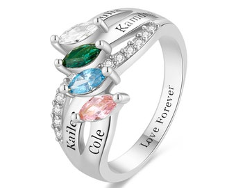 Personalized Sterling Silver Promise Rings with 4 Name and 4 Simulated Birthstone for Women Best Friend Rings Mother's Day Rings for Mom