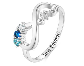Personalized Sterling Silver Mothers Rings with 3 Simulated Birthstones for Mom Infinity Rings for Grandmother Mother's Day Rings for Mom