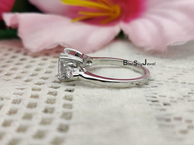 Asscher Solitaire Ring 14K White Gold Plated Diamond Simulant Asscher Cut Ring 3.30Ctw Asscher Cut Engagement ring Asscher 3 Stone Ring