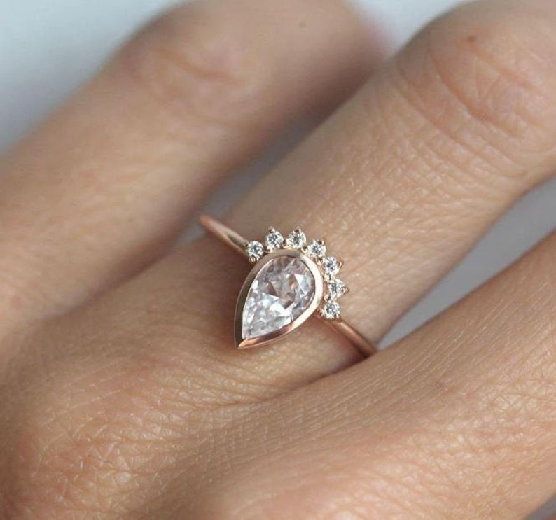 Pear Cut Solitaire Ring CZ Pear Cut Diamond Ring Anniversary Gift CZ Promise Ring 10x7mm Pear Cut Engagement Ring Diamond Bridal Ring