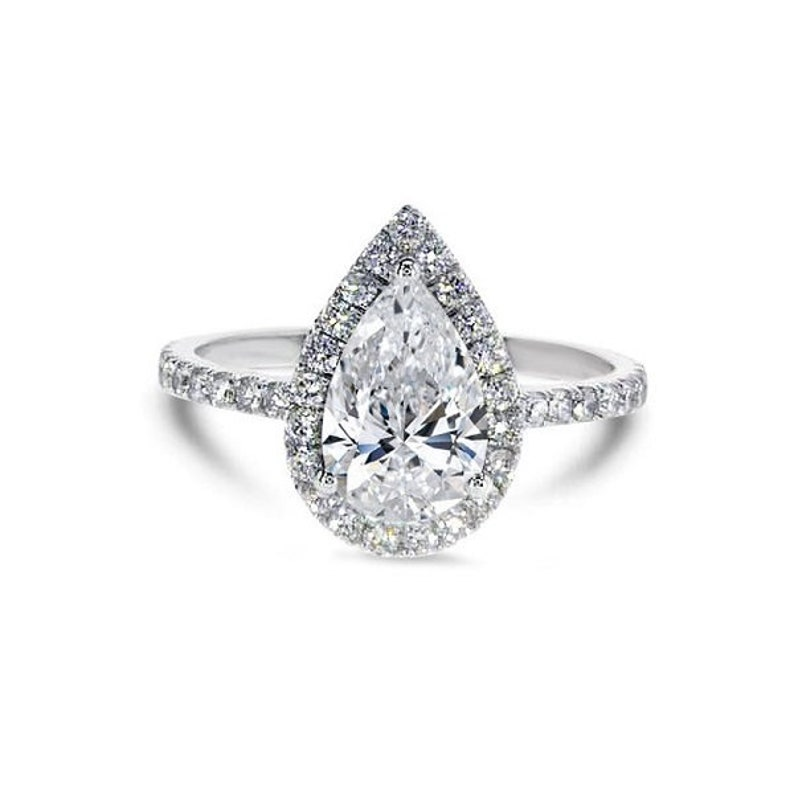 Pear Cut Halo Ring Promise Ring CZ Diamond Stimulant Pear Shaped Ring 2.70ct tw Wedding Ring 925 Sterling Silver Pear Cut Ring
