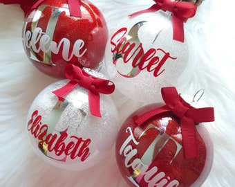 Personalized Christmas ornaments, name ornaments, Christmas gifts, Christmas monogram ornament, Glitter ornaments, personalized ornament