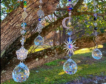 Sun Catcher, Boho Window decor, Large 40mm Hanging Crystal, Patio Decor and Garden Decor, Gift for Anyone, Crystal Window Prisms