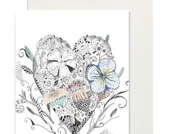 A6 postcard mini print + envelope/ Blooming heart