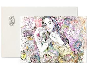 A6 postcard mini print + envelope/ Girl and colorful garden