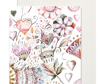 A6 postcard mini print + envelope/ Hearts and flowers