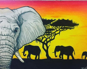 AWESOME ELEPHANT FAMILY AT SUNSET  IMAGE NEOPRENE FABRIC  CHECKBOOK COVER
