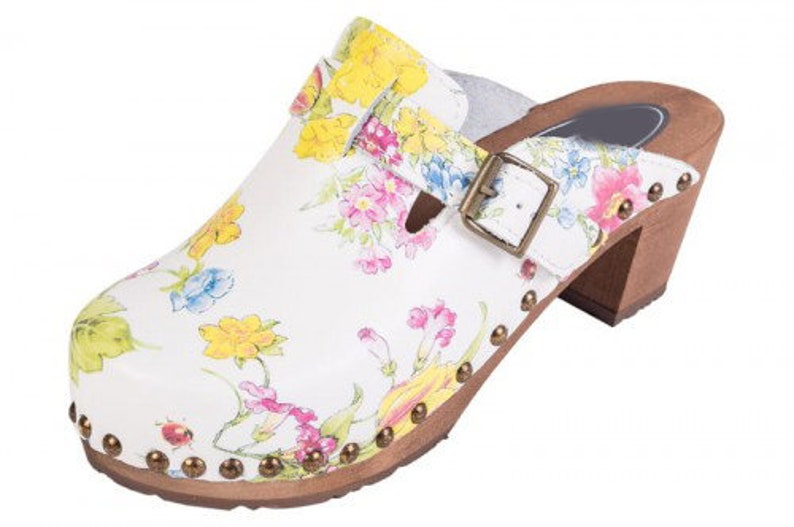 Stylish Women Clogs Wooden Clogs Leather Clogs Swedish Clogs Clog Sandals Buts Wood Soles High Heel Clogs Brown Clogs Heels