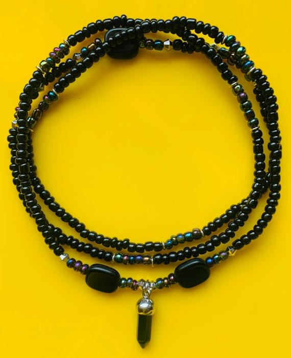Black on Black Obsidian Waist Beads