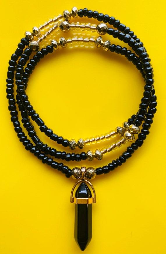 Prehnite Crystal Charmed Waist Bead Strand