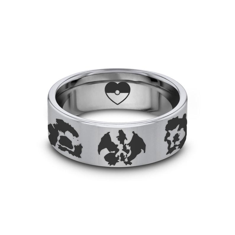 Pokemon Wedding Band Charizard Starter Pokemon Evolution Engagement Ring Blastoise Pokemon Ring Pokeball Wedding Ring Venasaur