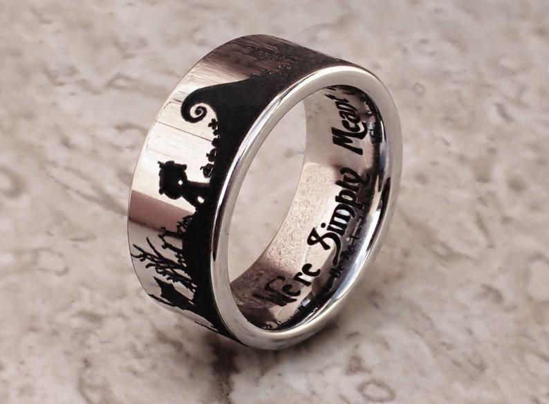 Jack Skellington Wedding Band Jack and Sally Wedding Ring Nightmare Before Christmas Wedding Ring Halloween Town Engagement Ring
