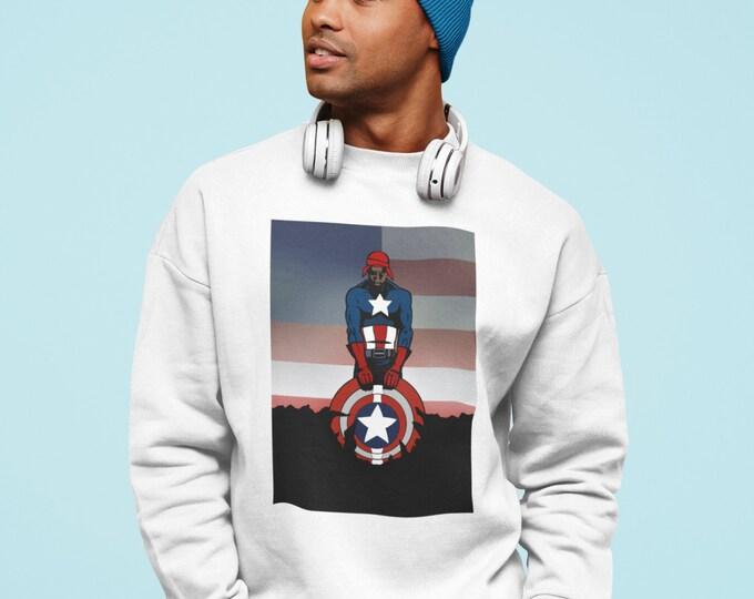 Featured listing image: Captain Tupac, Tupac America, Parody, Rapper Super Heroes, Black Super heroes, Hoody or sweatshirt