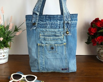 Bag Holder jeans blue style lived denim fabrics recycled ecological raw style