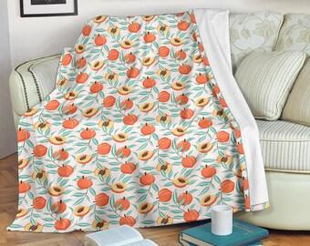 Farmhouse Country Living Fruit Harvest Modern Living Room Decor Orange Throw Blanket Fleece Blanket Home Decor Red Peaches Gift