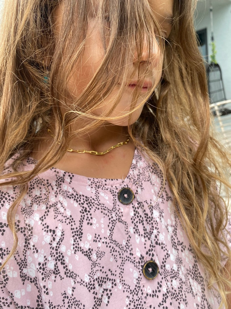 girls fun jewelry dainty chain paper clip chain-gold necklace Kids gold filled paper clip necklace