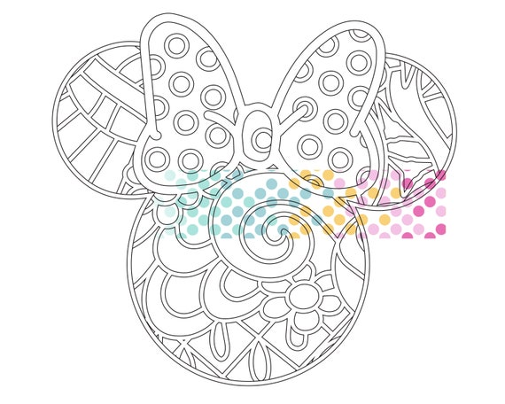 Minnie Mouse Pdf Zentangle Printable Coloring Page Etsy