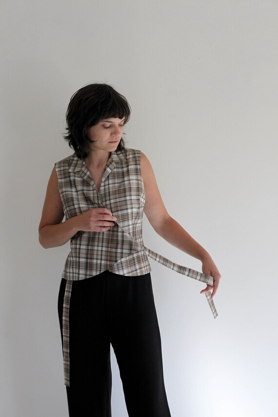 Vintage Plaid Wrap Shirt