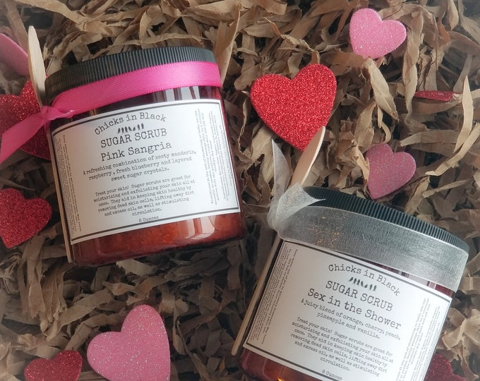 Featured listing image: Sugar Scrubs: Pink Sangria, Love Spell, Sex in the Shower, The Perfect Man, Black Tie, Lavender, Dark Chocolate